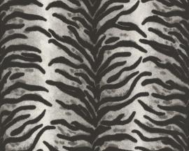 Behangpapier Tijgerprint Zwart grijs 6632-21