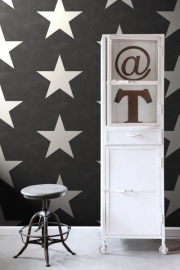 136457 zwart wit grote sterren behang