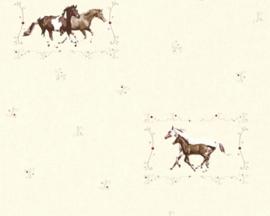 meisjes crème paarde behang 35837-2