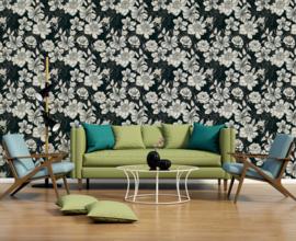 Zwartwit bloemen behang 32798-4
