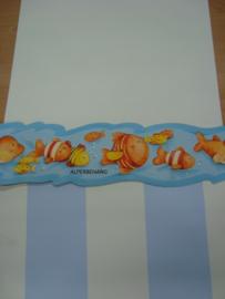 vissen behangrand blauw oranje gekanteld geschulpt nimo rand 0021