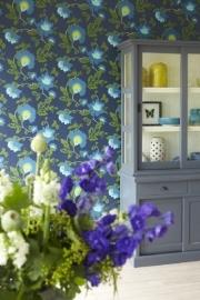 Bloemen Behang Blauw 321805