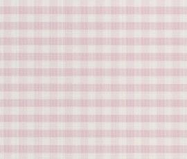 Creme, Roze Ruitjes Behang 451726