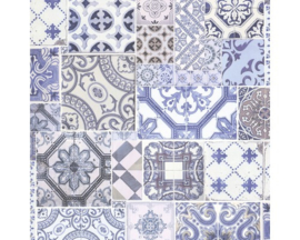 tegel behangpapier blauw vlies xx97