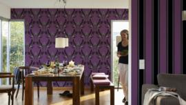 Paars barok behangpapier met glitter 957035