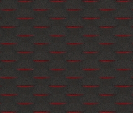 Strepen Zwart, Rood Behang 726404