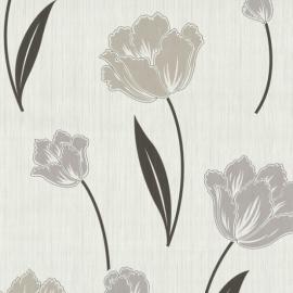 Bloemen Behang P&S Beige, Bruin 42071-40