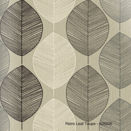 RETRO LEAF TAUPE BEHANG - Arthouse Options 408206