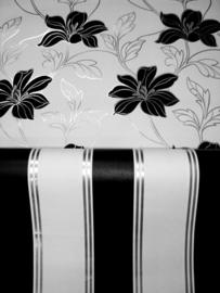 zwart zilver strepen modern vlies behang xx101