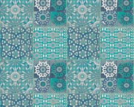 portugees tegel behangpapier groen/blauw 36895-3