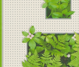 Behangpapier Wit Groen Planten Behang  828405