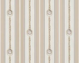 Behangpapier Streep Diamanten Creme Goud 94354-2