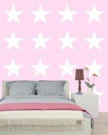 136452 roze wit sterren behang