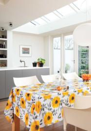 Geel bloemen tafelzeil tafelkleed 150-147
