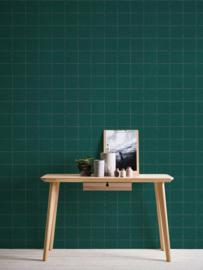 Behangpapier ruiten groen 37551-1