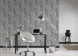 retro behang zwart wit 953511