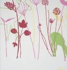 Lef bloemen behang 48920 roze