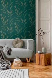 Behangpapier ruiten groen 37549-1