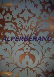 Barok vinyl behang brons blauw xxx42