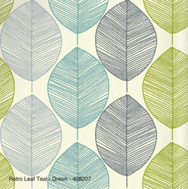 RETRO LEAF TEAL GROEN BEHANG - Arthouse Options 408207