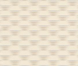 Strepen Geweven Behang Creme 726459