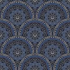 Arabisch stijl behang blauw sk10026
