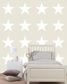 grote ster 136465 beige wit sterren behang