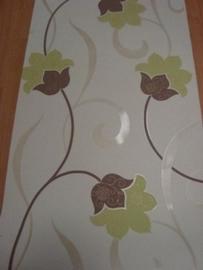 creme lime bruin glinster modern bloemen vinyl behang 44