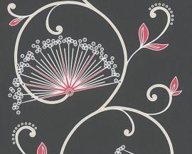 Behangpapier Bloemen Glitter Zwart  96117-2