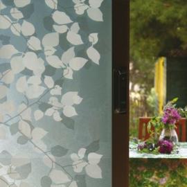 statische raamfolie grijs met witte bloem