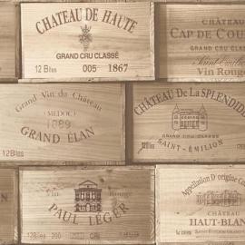 Exposed behang PE11011 Wijnkisten