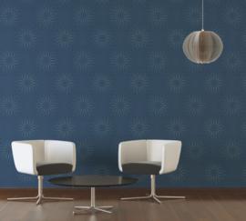 Blauw modern retro behangpapier 940225