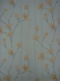 blauw roze magnolia vlies lambrisering behang 56