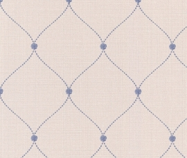 Trendy Behang Creme, Blauw 450705