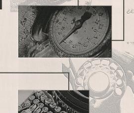 Behangpapier Wit grijs zwart Klok Behang  831917