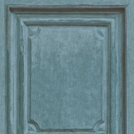 Houten Panelen Blauw Behang 524437