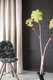 Bloemen Behang Zwart 321825