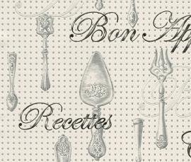 Behangpapier Wit Creme Bestek Behang 828108