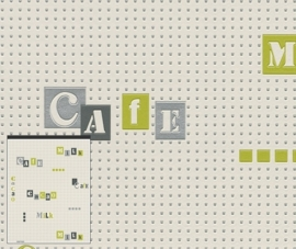 Behangpapier Creme Letters Cafe Behang  828702