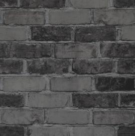 Stenen Behang Grijs, Zwart 49783
