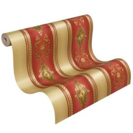 Rood goud strepen behang xx543