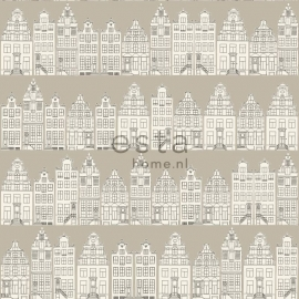 Denim & Co. Amsterdam houses beige behang 137713