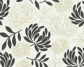 Behangpapier Bloemen Zwart wit  96116-4