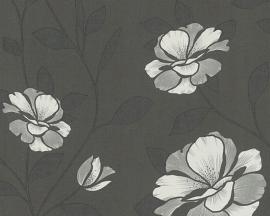 Behangpapier bloemen zwart, grijs 95557-4