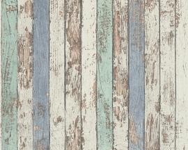Behangpapier Hout Beige bruin blauw 95914-1