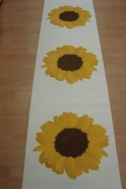 creme geel bruin zonnebloemen retro behang 00589