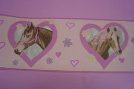 paarden behangrand in hartjes met glitter meisjes band