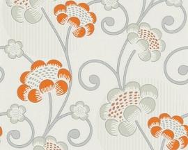 Behangpapier Bloemen Glitter Oranje Grijs  30054-1