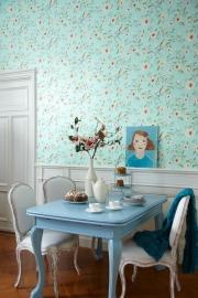 Behangpapier  Blauw Oudroze Bloemen 310013