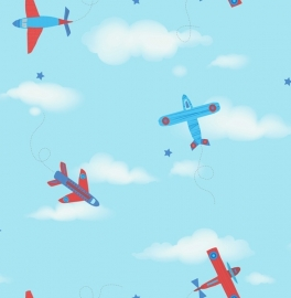 Carousel kinder behang DL21134 Planes rood
